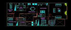 فایل اتوکد پلان معماری ساختمان آپارتمان با مبلمان کامل قابل ویرایش