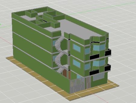 فایل اتوکد مدل سه بعدی ساختمان آپارتمان قابل ویرایش