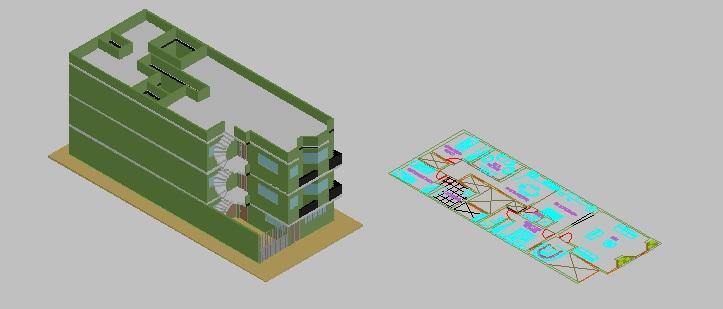 پروژه کامل اتوکد مدل سه بعدی ساختمان آپارتمان قابل ویرایش