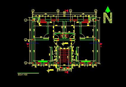 فایل اتوکد پلان معماری طبقه همکف ساختمان مسکونی 2 طبقه با اندازه گذاری کامل قابل ویرایش